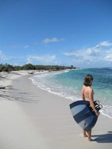 Sophie sur une plage de Guadeloupe...
