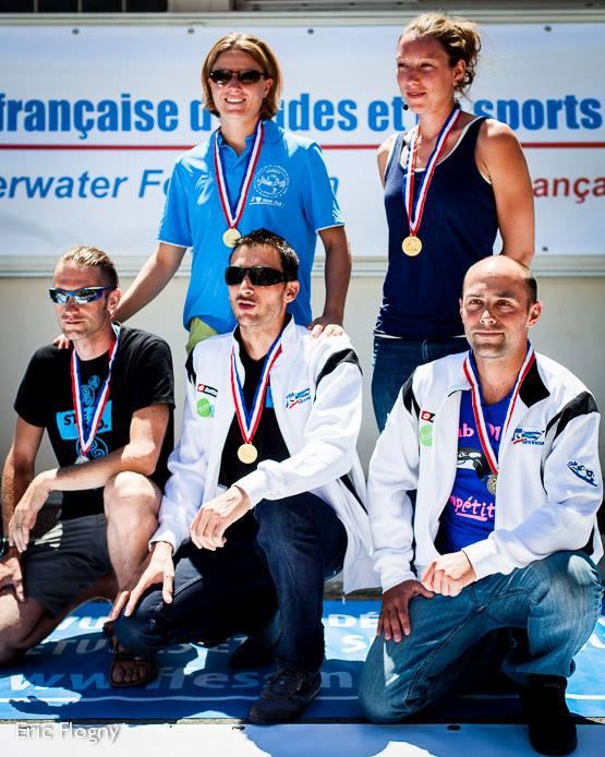 podium poids constant / championnat de France outdoor FFESSM à Marseille (2013) photo : Eric Flogny pour la FFESSSM