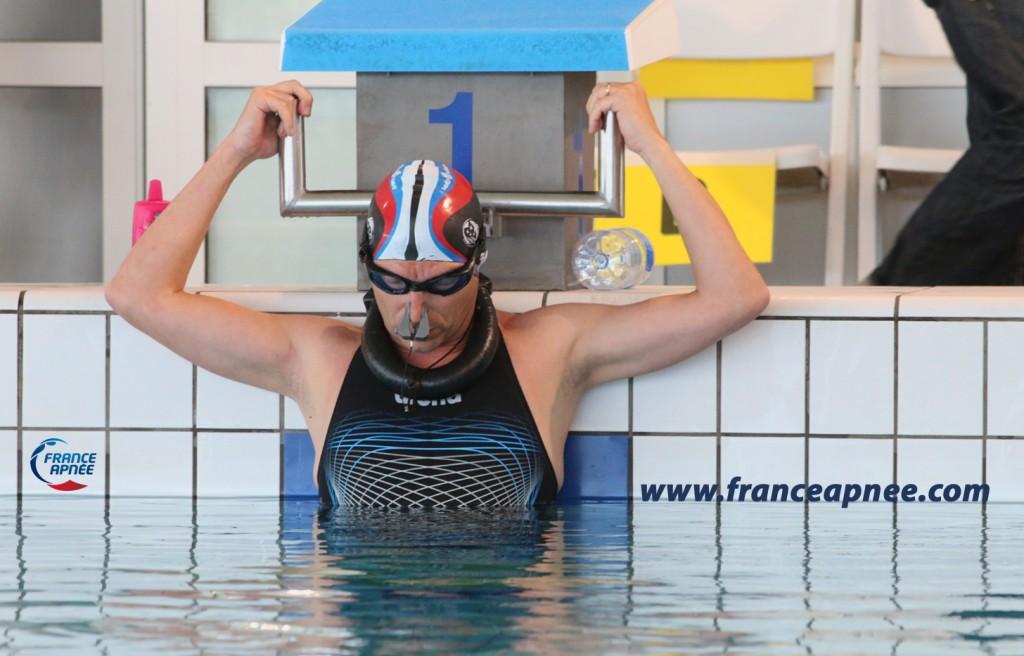 En dernière série Frank Caillet alias MysticFranky nage 179m DYN en bassin de 25, record personnel