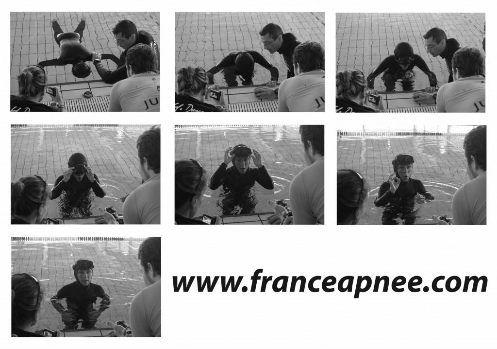 les derniers instants avant un nouveau de France d'apnée statique avec 6'23 pour Béatrice Del Negro (crédits photographiques Nicolas Proquin pour France Apnée D.R. )