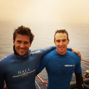 Guillaume Néry avec Morgan Bourc'His qui a battu quant à lui son propre record de France en CNF avec -90m.