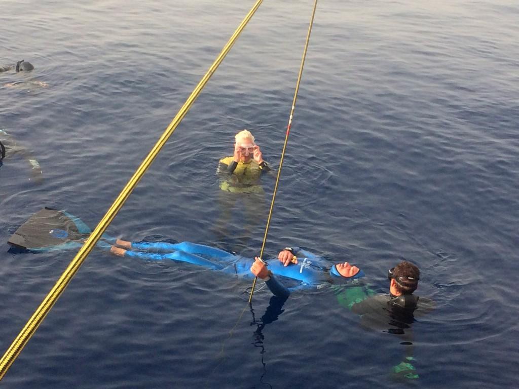 Guillaume Néry quelques instants avant de descendre à -139m de profondeur en poids constant (photo S. Tourreau)