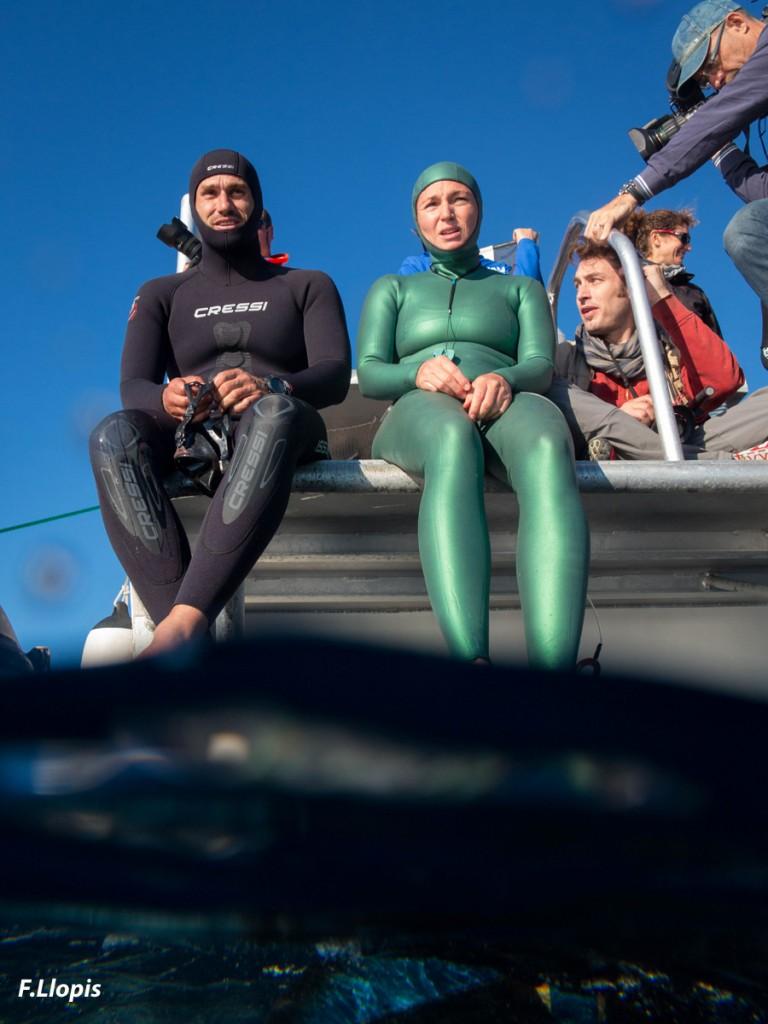 Guillaume Néry et Aurore Asso avant leur plongée hommage