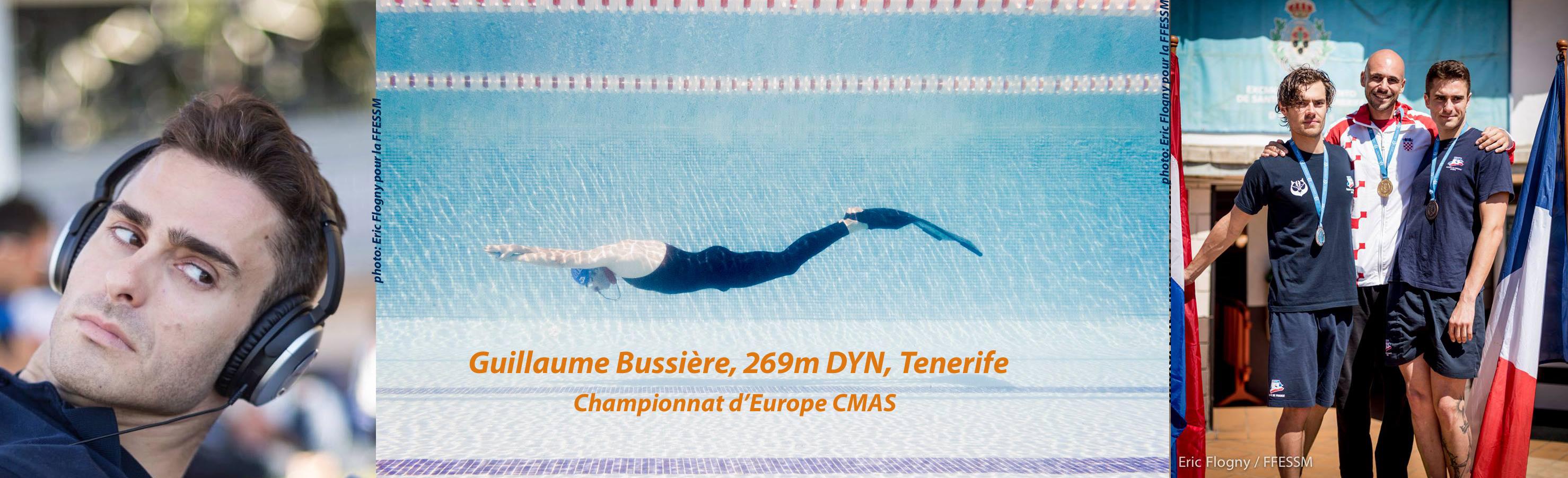 Guillaume Bussière 269m DYN (PB), médaille de bronze Europe CMAS photos : Eric Flogny pour la FFESSM montage : France Apnée