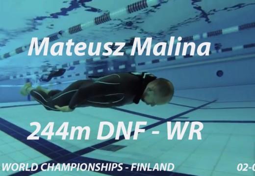 244m DNF pour Mateusz Malina / Record du monde AIDA (juillet 2016)
